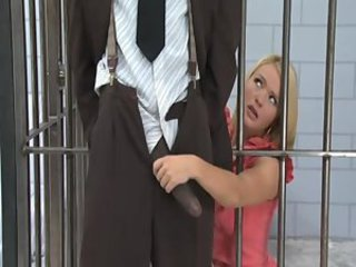 Babe Big cock Blonde Handjob Interracial Prison