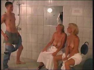 Mature Mom Old and Young SaggyTits Showers Threesome