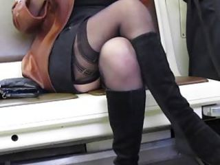 Girl restrain her dress and stockings nearly familiarize