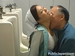 Asian Japanese Kissing MILF Toilet