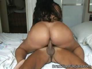 Big-assed brunette demonstrates her tushy and gets some good dicking