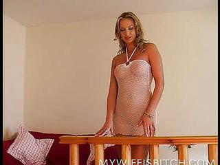 Amazing Cuckold Cute Fishnet Lingerie MILF
