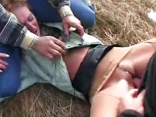 Amateur Clothed Hardcore Outdoor Pain Teen Threesome