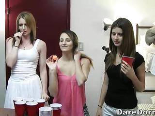 Beer Pong Is A Funny Game College Girls Love To Play. They Play Games...