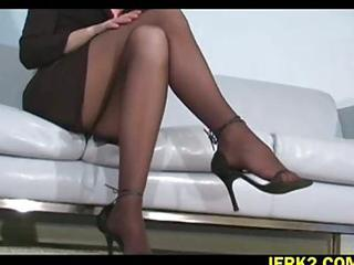 Office Bitch Faith Leon In Stockings