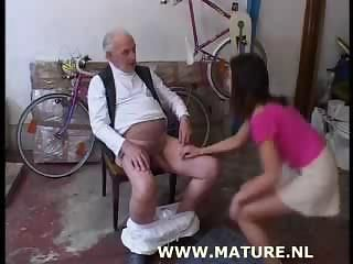 Old Man Doing Teen After Showing Off A Bike