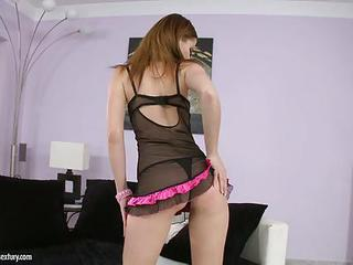 Sexy Tight Babe In Baby Doll Lingerie Stripping