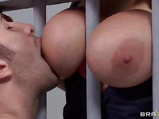 Big Breasted Uniformed Prison Guard Alanah Rae Finds Herself Getting Her Hairless Pussy Hammered By Horny As Hell Prisoner Keiran Lee Behind Bars. She Gets The Action Started By Pulling Her Massive Boobs Out.