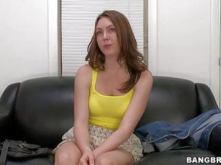 Shes A Nice Looking Young Girl. This First Timer Gets Interviewed By Man Behind The Camera Before Showing Her Private Parts. Flirty Girl In Short Skirt Is Ready To Have Her First Porn Experience After Interview.