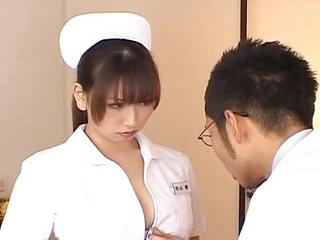 Ai Sayama Appealing Asian Nurse Exhibits Off Her Jugs