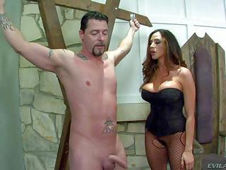 Ariella Ferrera Is A Big Boobed Milfy Domina. She Has A Nice Time Playing With Helpless Naked Man. Mistress In Corset And Crotchless Pantyhose Strokes His Dick And Takes It Between Her Ass Cheeks.