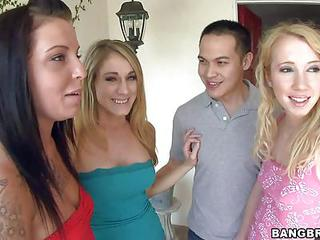 Aria Aspen, Nicki Blue And Amber Ashlee Are Three Playful Chicks That Lure A A Guy Into Group Sex. They Flash Their Body Parts Before He Unzips His Jeans To Give Them A Hard Cock They Deserve.