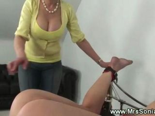 Mistress playing with blonds pussy and lets the servant taste her own pussy