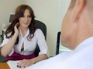 Secretary fucks a horny dude on the office floor