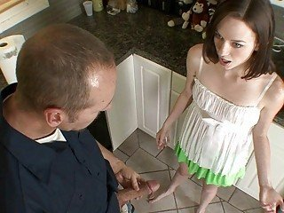 Cute teen babe blows handyman's huge boner