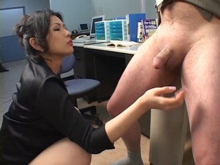 Amazing Asian Cute Handjob Japanese MILF Office