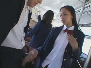 Asian Bus Handjob Public Teen Uniform