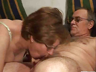 Blowjob Glasses Mature Older Wife