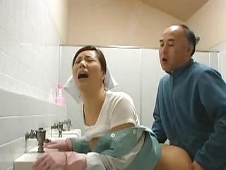 Asian Clothed Doggystyle MILF Orgasm Toilet