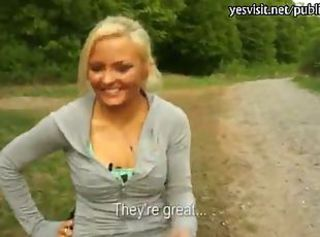 Pretty blonde Czech girl stuffed hard in public for cash