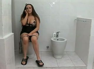 Big Tits European Italian MILF Toilet
