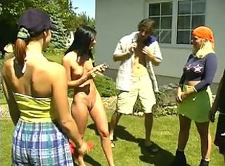 Outdoor Group Sex _: blondes brunettes group