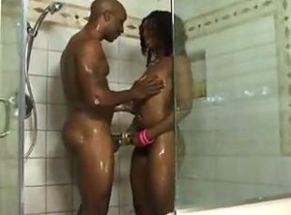Ebony Sex In Shower And Bedroom