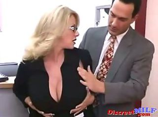 Amazing Big Tits Glasses MILF Office