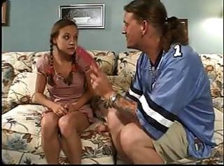 Babysitter gets an extra chore to suck and fuck the guy who paid her