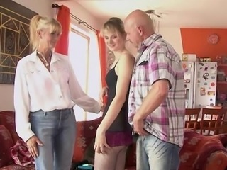 Mature mommy and dad seduce and pounde their son's girlfriend