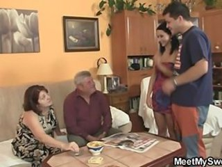 Family Groupsex Kitchen Mom Teen