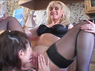 Naughty Brunette Teen Opens Fresh Pussy For Mature Lesbian Bitch