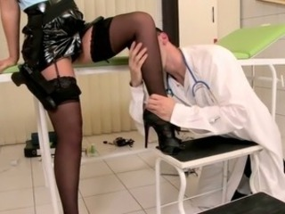 Doctor isn't able to resist Debbie White's long legs