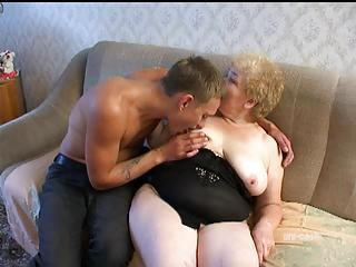 Chubby Granny Fucked By Eager Young Man