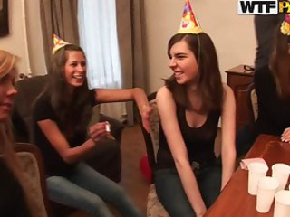 Horny babes came to the birthday party..