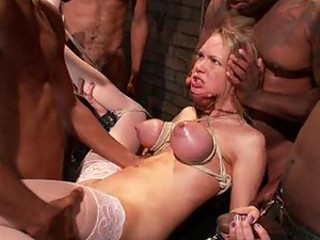 Gorgeous Blonde Gets Her Holes Filled With Chocolate In An Interracial Gangbang