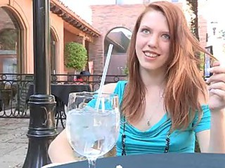Redhead Has A Drink & Runs Around Naked In Public