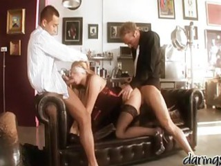 Adorable Leigh Logan gets blindfolded..