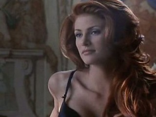 Extremely Hot Redhead Angie Everhart Wearing Exquisite Black Lingerie