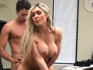Voyeur Catches Big Breasted Blonde Fucking In The Office