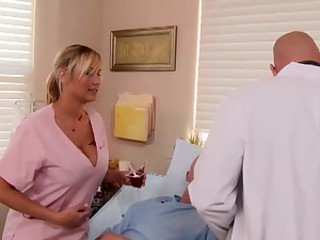 Busty nurse cures his needs
