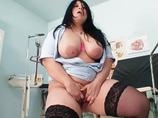 Solo fatty puts toy in pussy