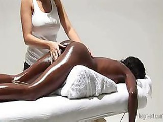 Skillful doctor gives special pussy massage to a slim black princess