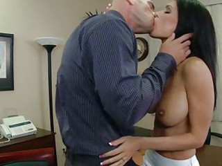 Busty honey Jessica Jaymes gets her hot mouth stuffed by a hard cock