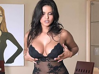 Sexy and Busty Latina Sunny Leone Toying Herself In Lingerie