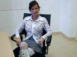 Brunette MILF Office Skirt