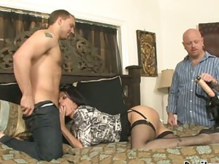 Roxanne Hall blowing the dick of her lusty partner