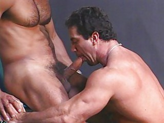 Wet hunks have cum dripping out