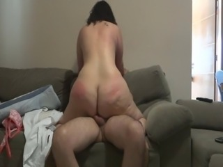 Chubby ass MILF rides cowgirl