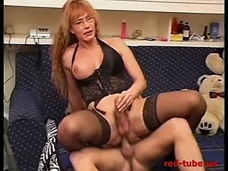 Redhead MILF shemale with big boobs fucks & fucked - 3 of 3